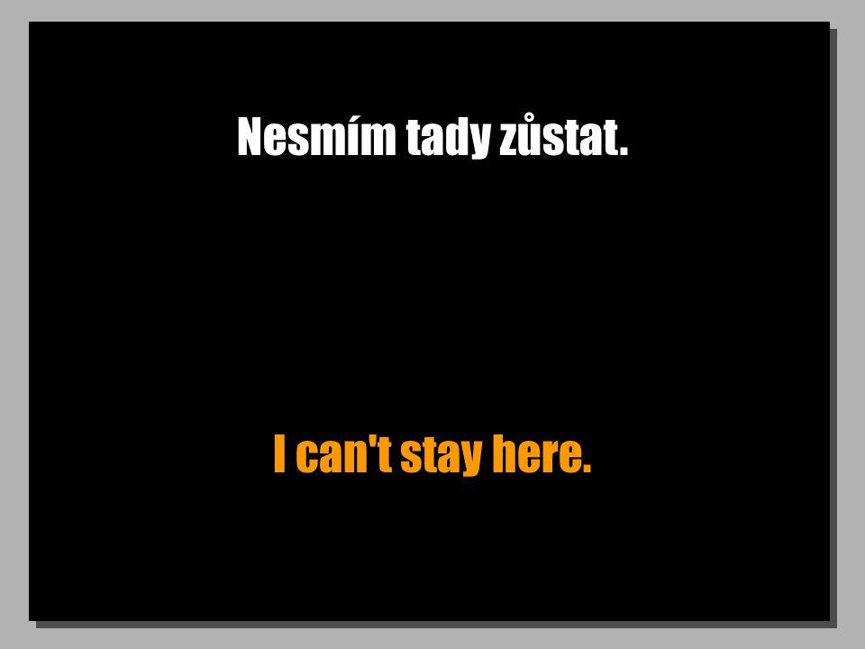 Nesmím tady zůstat. I can t stay here.