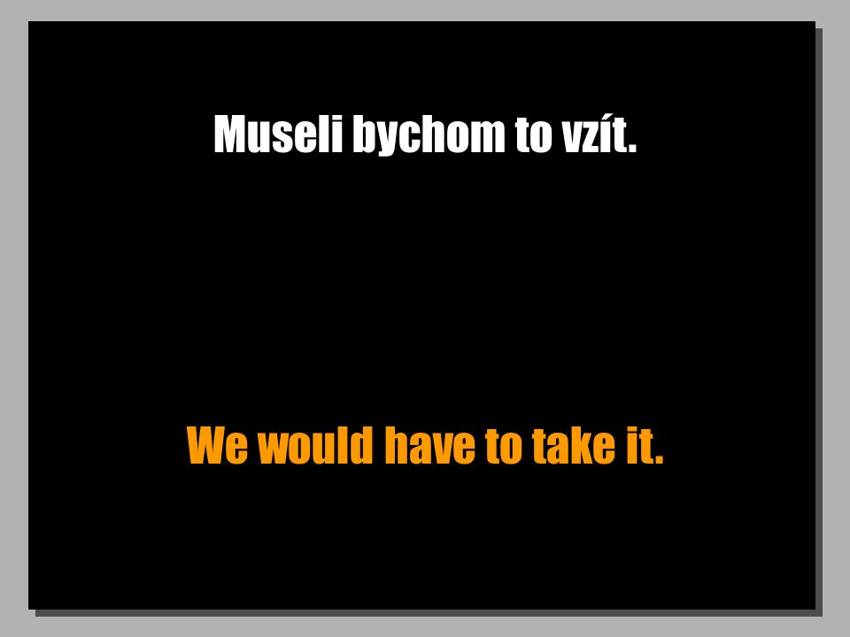Museli bychom to vzít. We would have to take it.