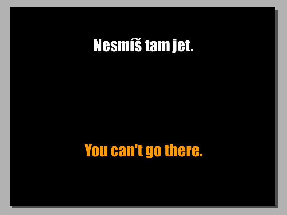 Nesmíš tam jet. You can t go there.