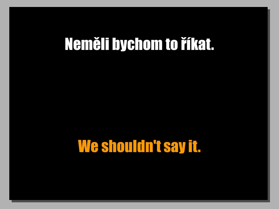 Neměli bychom to říkat. We shouldn t say it.