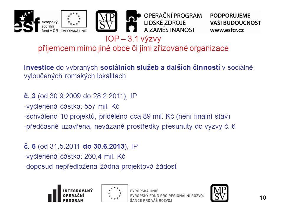 10 IOP – 3.1 výzvy příjemcem mimo jiné obce či jimi zřizované organizace Investice do vybraných sociálních služeb a dalších činností v sociálně vyloučených romských lokalitách č.