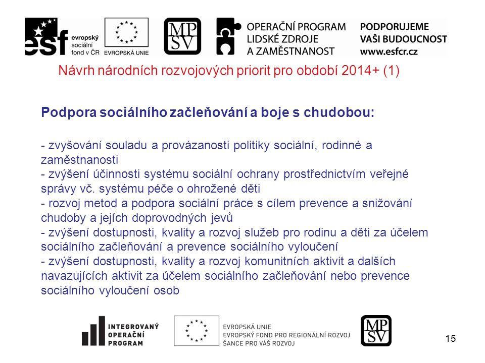 15 Návrh národních rozvojových priorit pro období 2014+ (1) Podpora sociálního začleňování a boje s chudobou: - zvyšování souladu a provázanosti politiky sociální, rodinné a zaměstnanosti - zvýšení účinnosti systému sociální ochrany prostřednictvím veřejné správy vč.