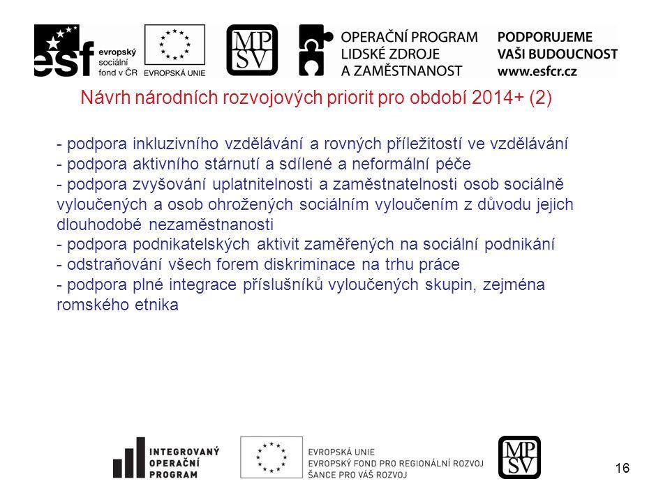 16 Návrh národních rozvojových priorit pro období 2014+ (2) - podpora inkluzivního vzdělávání a rovných příležitostí ve vzdělávání - podpora aktivního stárnutí a sdílené a neformální péče - podpora zvyšování uplatnitelnosti a zaměstnatelnosti osob sociálně vyloučených a osob ohrožených sociálním vyloučením z důvodu jejich dlouhodobé nezaměstnanosti - podpora podnikatelských aktivit zaměřených na sociální podnikání - odstraňování všech forem diskriminace na trhu práce - podpora plné integrace příslušníků vyloučených skupin, zejména romského etnika