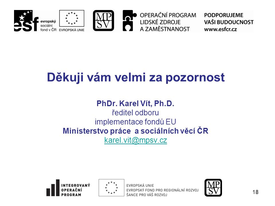18 Děkuji vám velmi za pozornost PhDr. Karel Vít, Ph.D.