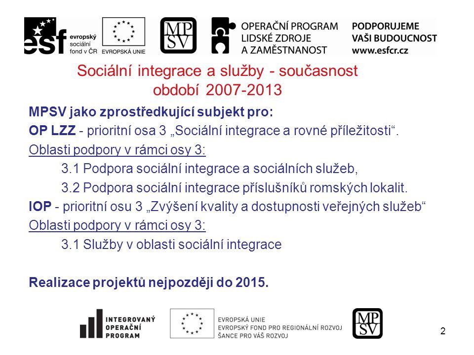 """2 Sociální integrace a služby - současnost období 2007-2013 MPSV jako zprostředkující subjekt pro: OP LZZ - prioritní osa 3 """"Sociální integrace a rovné příležitosti ."""