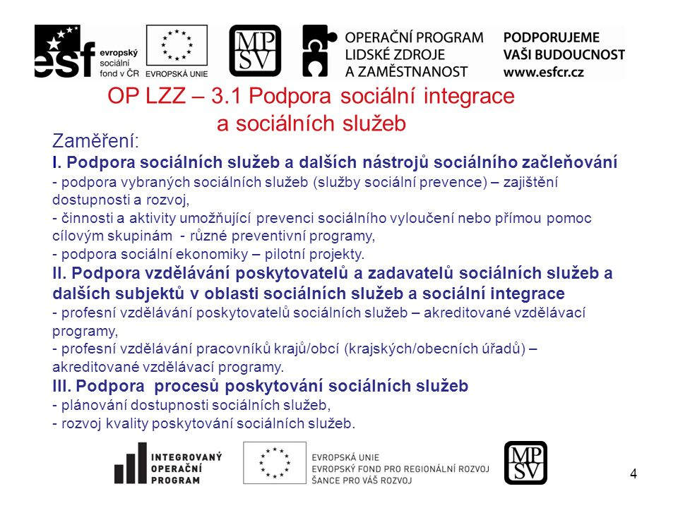 4 OP LZZ – 3.1 Podpora sociální integrace a sociálních služeb Zaměření: I.