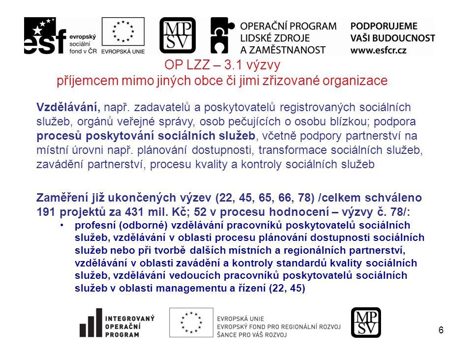 6 OP LZZ – 3.1 výzvy příjemcem mimo jiných obce či jimi zřizované organizace Vzdělávání, např.