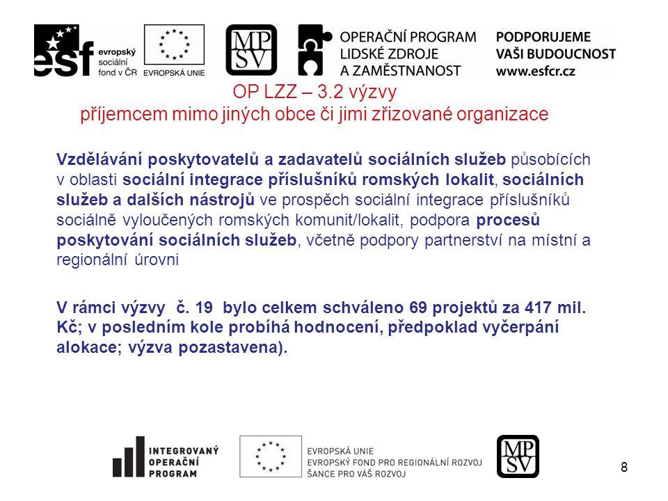 8 OP LZZ – 3.2 výzvy příjemcem mimo jiných obce či jimi zřizované organizace Vzdělávání poskytovatelů a zadavatelů sociálních služeb působících v oblasti sociální integrace příslušníků romských lokalit, sociálních služeb a dalších nástrojů ve prospěch sociální integrace příslušníků sociálně vyloučených romských komunit/lokalit, podpora procesů poskytování sociálních služeb, včetně podpory partnerství na místní a regionální úrovni V rámci výzvy č.