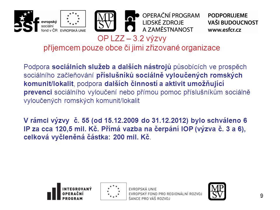 9 OP LZZ – 3.2 výzvy příjemcem pouze obce či jimi zřizované organizace Podpora sociálních služeb a dalších nástrojů působících ve prospěch sociálního začleňování příslušníků sociálně vyloučených romských komunit/lokalit, podpora dalších činností a aktivit umožňující prevenci sociálního vyloučení nebo přímou pomoc příslušníkům sociálně vyloučených romských komunit/lokalit V rámci výzvy č.