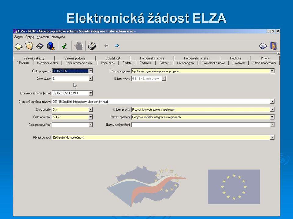 15 Elektronická žádost ELZA