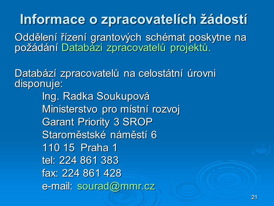 21 Informace o zpracovatelích žádostí Oddělení řízení grantových schémat poskytne na požádání Databázi zpracovatelů projektů.