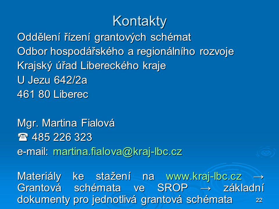 22 Kontakty Oddělení řízení grantových schémat Odbor hospodářského a regionálního rozvoje Krajský úřad Libereckého kraje U Jezu 642/2a 461 80 Liberec Mgr.