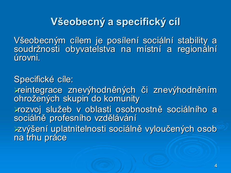 4 Všeobecný a specifický cíl Všeobecným cílem je posílení sociální stability a soudržnosti obyvatelstva na místní a regionální úrovni.