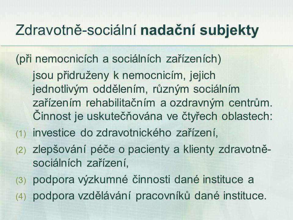 Zdravotně-sociální nadační subjekty (při nemocnicích a sociálních zařízeních) jsou přidruženy k nemocnicím, jejich jednotlivým oddělením, různým sociálním zařízením rehabilitačním a ozdravným centrům.