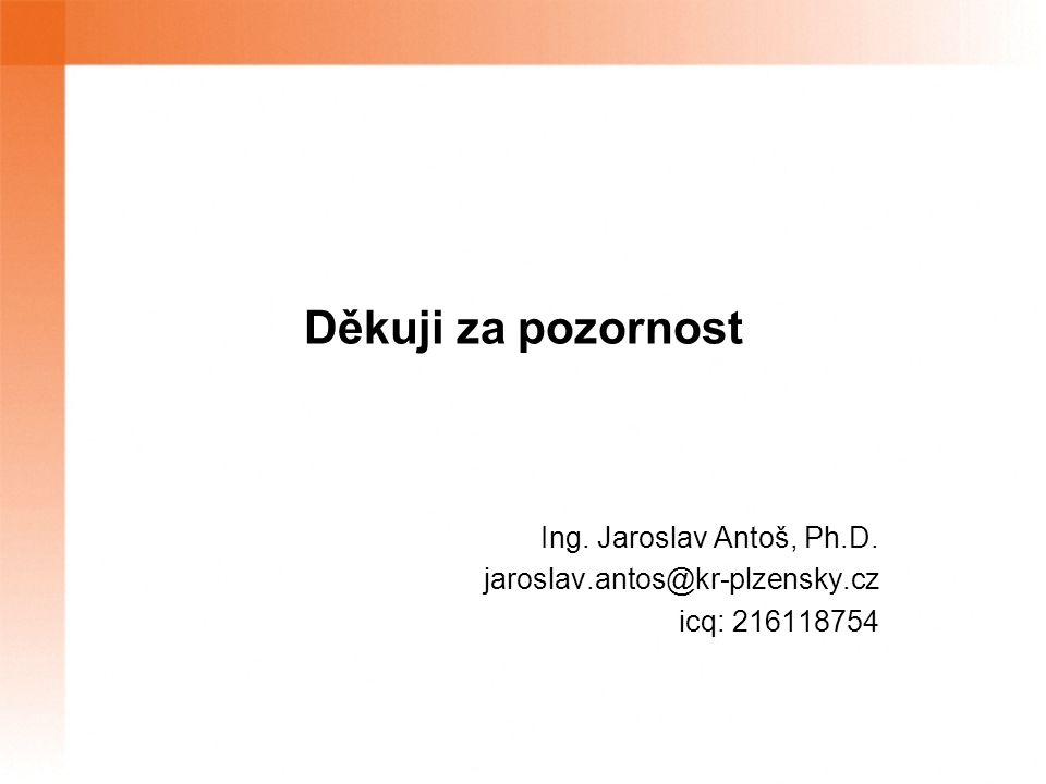 Děkuji za pozornost Ing. Jaroslav Antoš, Ph.D. jaroslav.antos@kr-plzensky.cz icq: 216118754