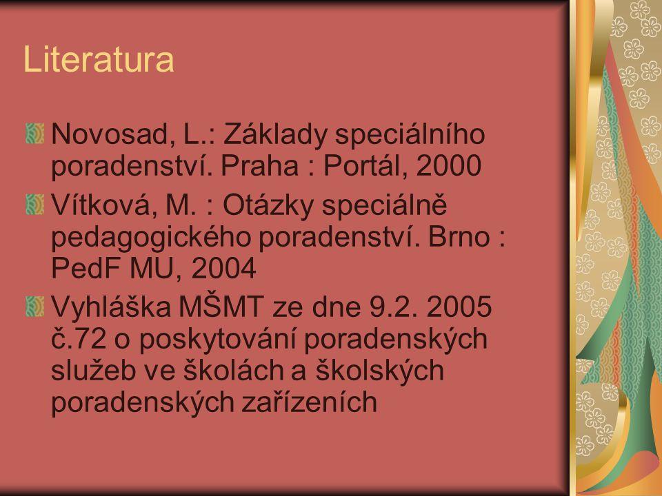 Literatura Novosad, L.: Základy speciálního poradenství. Praha : Portál, 2000 Vítková, M. : Otázky speciálně pedagogického poradenství. Brno : PedF MU
