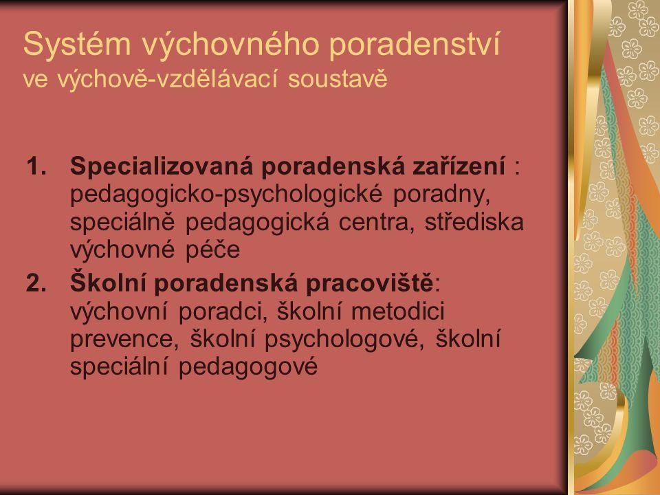 Systém výchovného poradenství ve výchově-vzdělávací soustavě 1.Specializovaná poradenská zařízení : pedagogicko-psychologické poradny, speciálně pedag