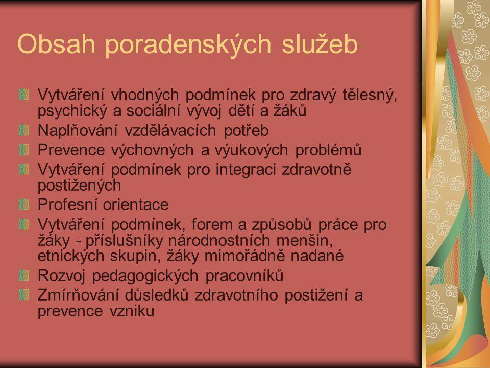 Pedagogicko-psychologické poradny Vznikají v 60.letech minulého století.