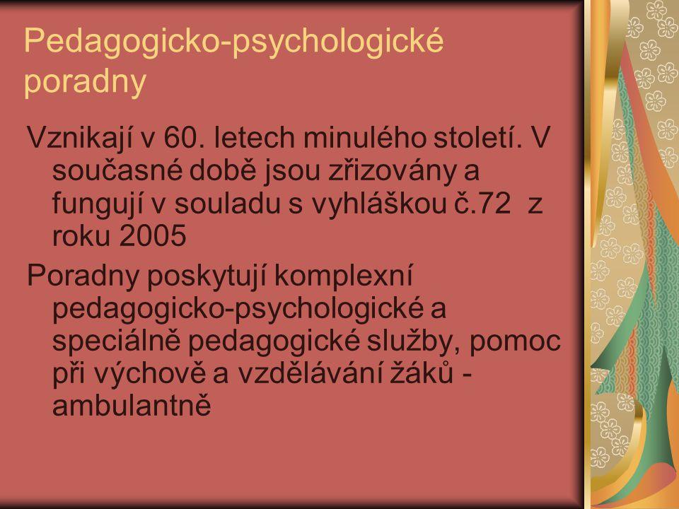 Pedagogicko-psychologické poradny Vznikají v 60. letech minulého století. V současné době jsou zřizovány a fungují v souladu s vyhláškou č.72 z roku 2