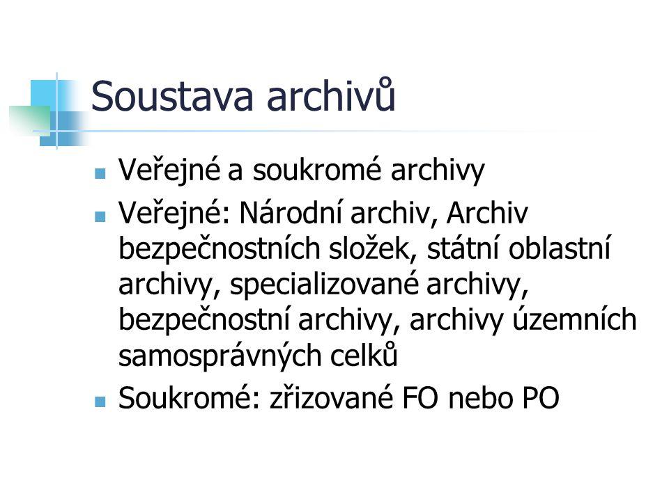 Soustava archivů Veřejné a soukromé archivy Veřejné: Národní archiv, Archiv bezpečnostních složek, státní oblastní archivy, specializované archivy, be