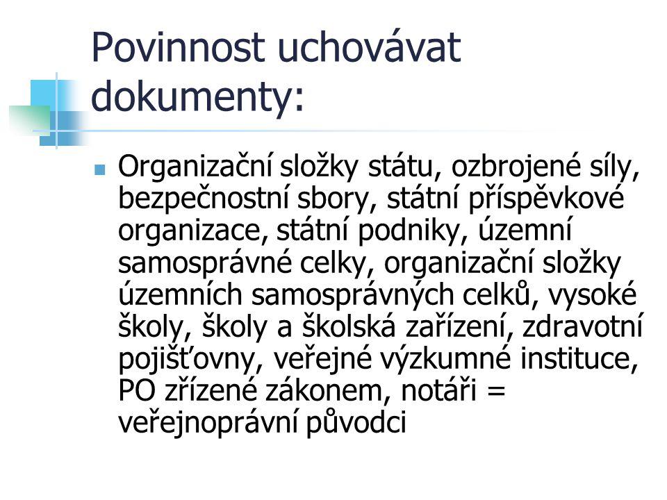 Povinnost uchovávat dokumenty: Organizační složky státu, ozbrojené síly, bezpečnostní sbory, státní příspěvkové organizace, státní podniky, územní sam