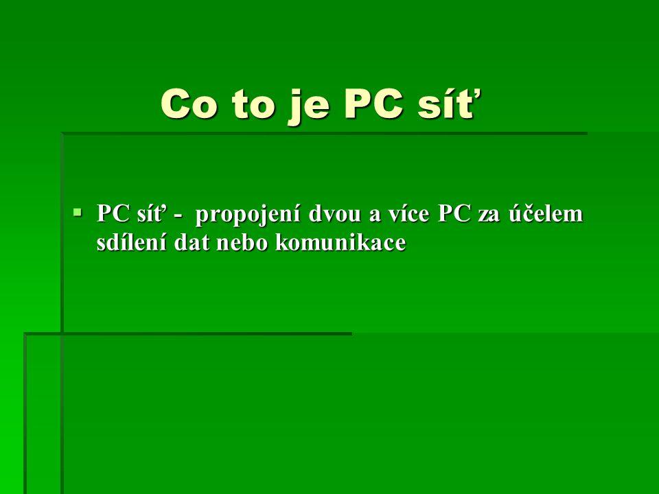 Co to je PC síť  PC síť - propojení dvou a více PC za účelem sdílení dat nebo komunikace