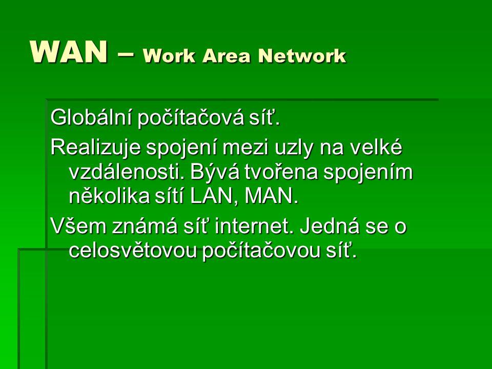 WAN – Work Area Network Globální počítačová síť. Realizuje spojení mezi uzly na velké vzdálenosti. Bývá tvořena spojením několika sítí LAN, MAN. Všem