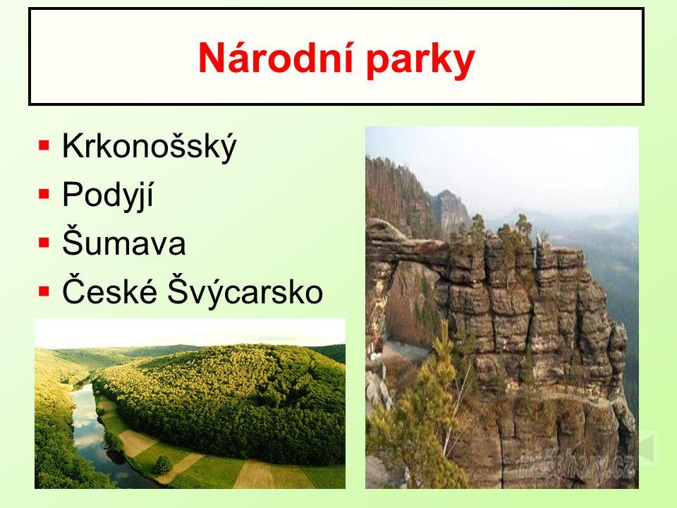  Krkonošský  Podyjí  Šumava  České Švýcarsko Národní parky