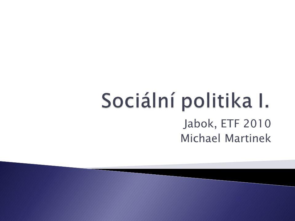 01 Sociální politika I. Jabok, ETF 2010 Michael Martinek21