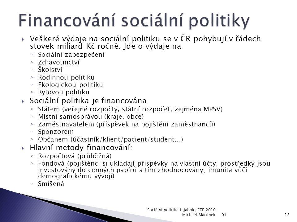 01 Sociální politika I. Jabok, ETF 2010 Michael Martinek12 Ekonomická výkonnost Podniky mají zisky, zaměstnanci mzdy Čím vyšší zisky a mzdy, tím vyšší