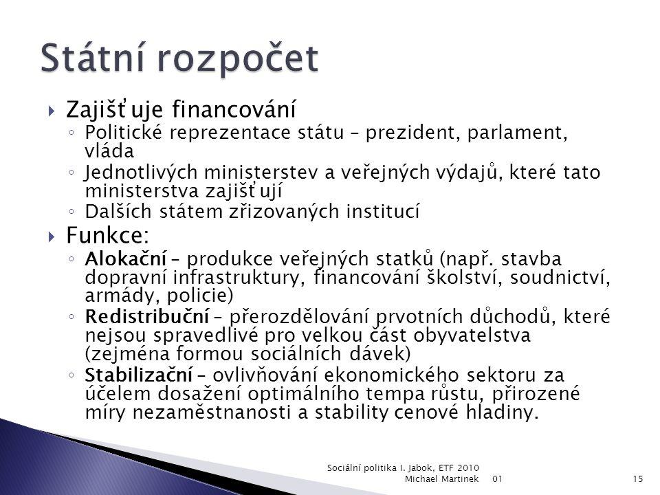  Veřejné finance slouží k zajištění existence a fungování veřejného sektoru. Stát je získává z těchto zdrojů: ◦ Daně (asi 50% příjmu SR) ◦ Pojistné –