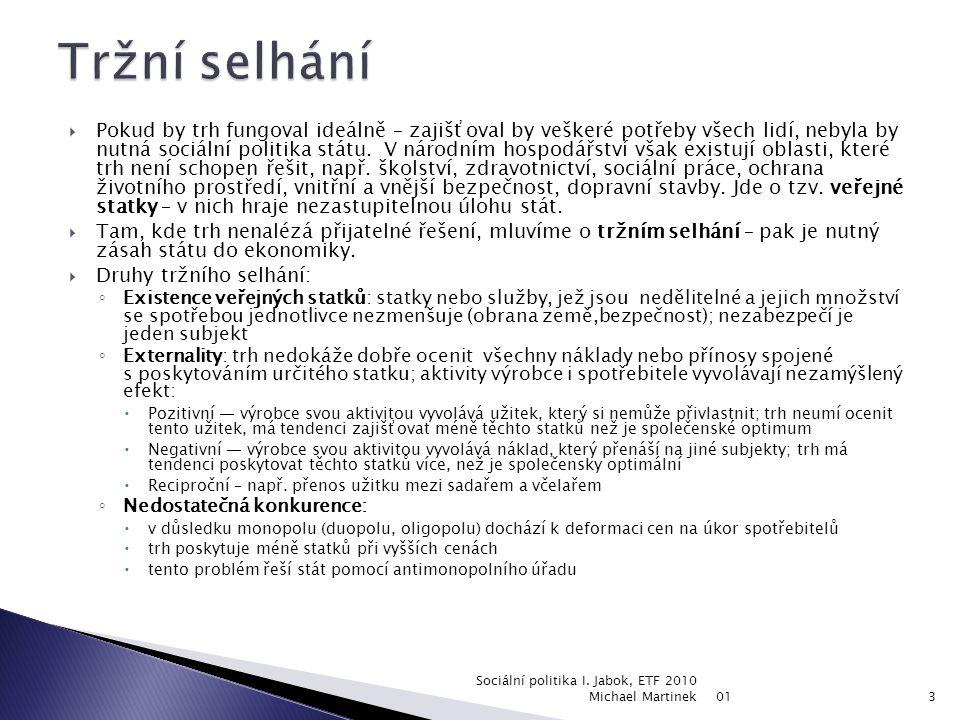 01 Sociální politika I. Jabok, ETF 2010 Michael Martinek2 základní pojmy a principyfinancování sociální politikyveřejné rozpočtystátní rozpočetdaněsoc