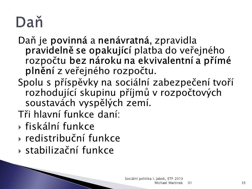 01 Sociální politika I. Jabok, ETF 2010 Michael Martinek34
