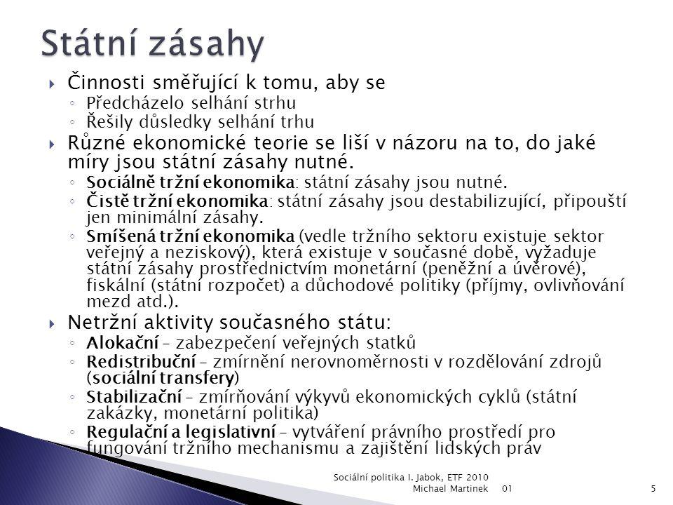  monetární politika (nositelem je Česká národní banka - ČNB),  fiskální politika (systém veřejných rozpočtů, státní rozpočet navrhuje vláda a schvaluje parlament),  důchodová politika (regulace mezd, regulace cen, nositelem je vláda a parlament - právní úprava fungování trhu, zprostředkovaně ČNB - hlídá inflaci),  vnější obchodní a měnová politika (celní politika - vláda, kurzová politika - ČNB, apod.).