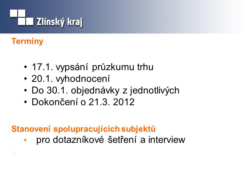 Termíny 17.1. vypsání průzkumu trhu 20.1. vyhodnocení Do 30.1.