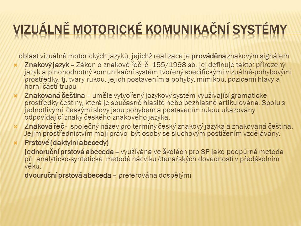 oblast vizuálně motorických jazyků, jejichž realizace je prováděna znakovým signálem  Znakový jazyk – Zákon o znakové řeči č. 155/1998 sb. jej definu