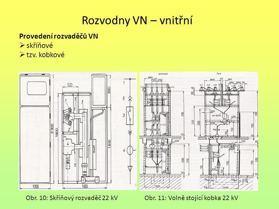 Rozvodny VN – vnitřní Provedení rozvaděčů VN  skříňové  tzv. kobkové Obr. 10: Skříňový rozvaděč 22 kVObr. 11: Volně stojící kobka 22 kV