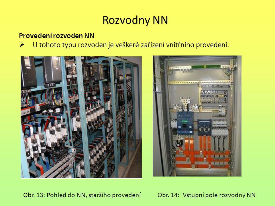 Rozvodny NN Provedení rozvoden NN  U tohoto typu rozvoden je veškeré zařízení vnitřního provedení. Obr. 13: Pohled do NN, staršího provedeníObr. 14: