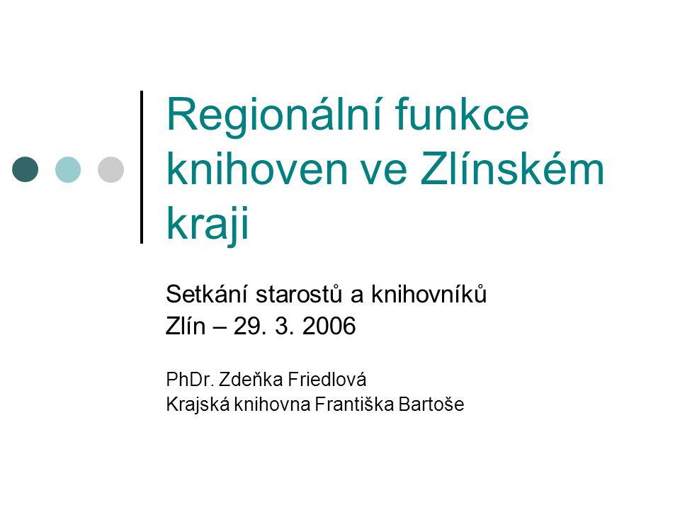 Regionální funkce knihoven ve Zlínském kraji Setkání starostů a knihovníků Zlín – 29.