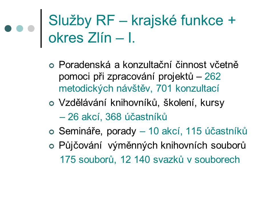 Služby RF – krajské funkce + okres Zlín – I.