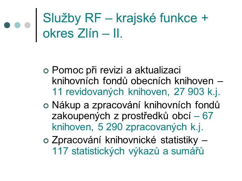 Služby RF – krajské funkce + okres Zlín – II.