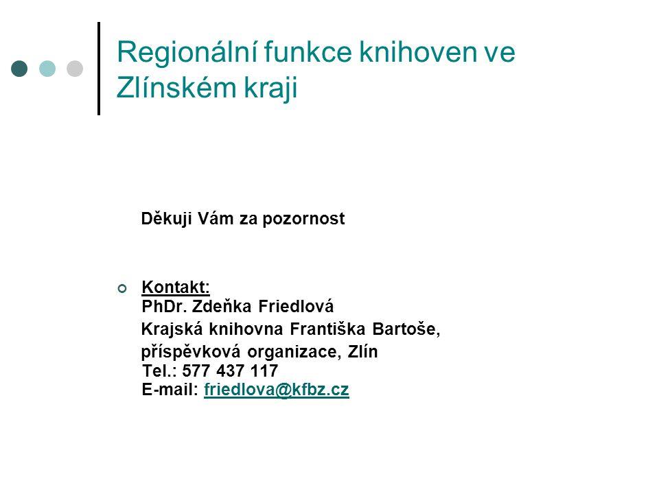 Regionální funkce knihoven ve Zlínském kraji Děkuji Vám za pozornost Kontakt: PhDr.
