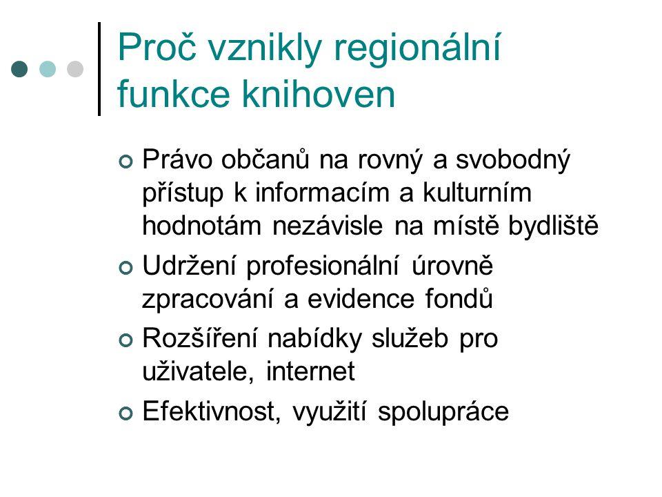 Proč vznikly regionální funkce knihoven Právo občanů na rovný a svobodný přístup k informacím a kulturním hodnotám nezávisle na místě bydliště Udržení profesionální úrovně zpracování a evidence fondů Rozšíření nabídky služeb pro uživatele, internet Efektivnost, využití spolupráce