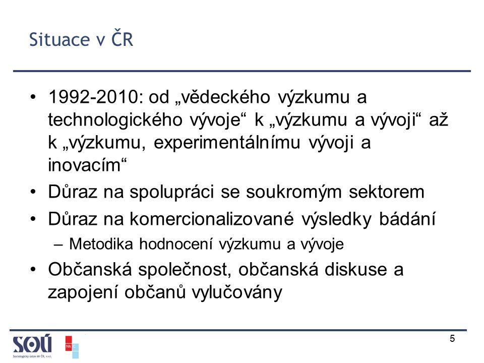 """5 Situace v ČR 1992-2010: od """"vědeckého výzkumu a technologického vývoje k """"výzkumu a vývoji až k """"výzkumu, experimentálnímu vývoji a inovacím Důraz na spolupráci se soukromým sektorem Důraz na komercionalizované výsledky bádání –Metodika hodnocení výzkumu a vývoje Občanská společnost, občanská diskuse a zapojení občanů vylučovány"""