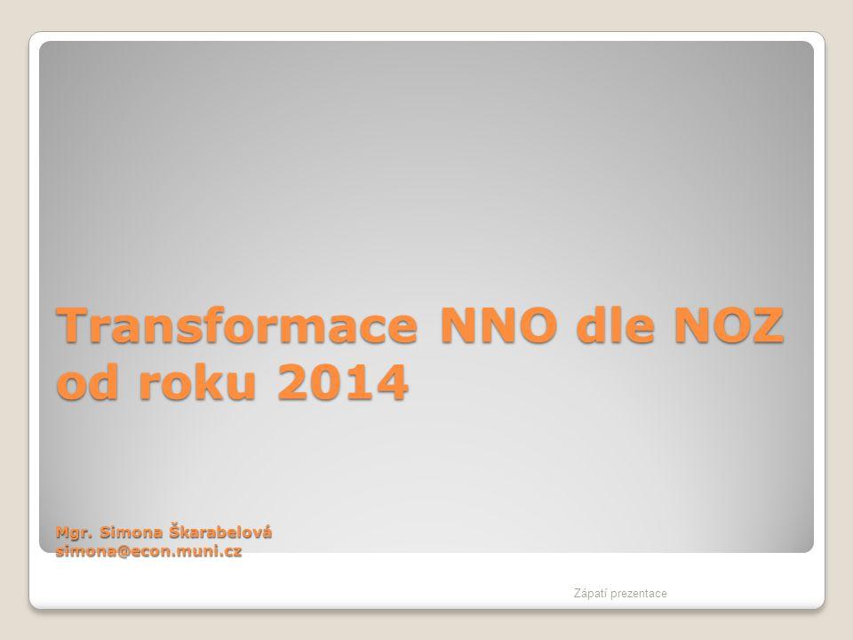 Transformace NNO dle NOZ od roku 2014 Mgr. Simona Škarabelová simona@econ.muni.cz Zápatí prezentace