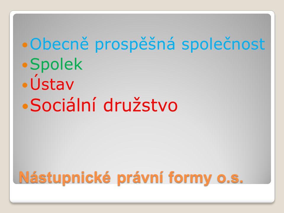 Nástupnické právní formy o.s. Obecně prospěšná společnost Spolek Ústav Sociální družstvo