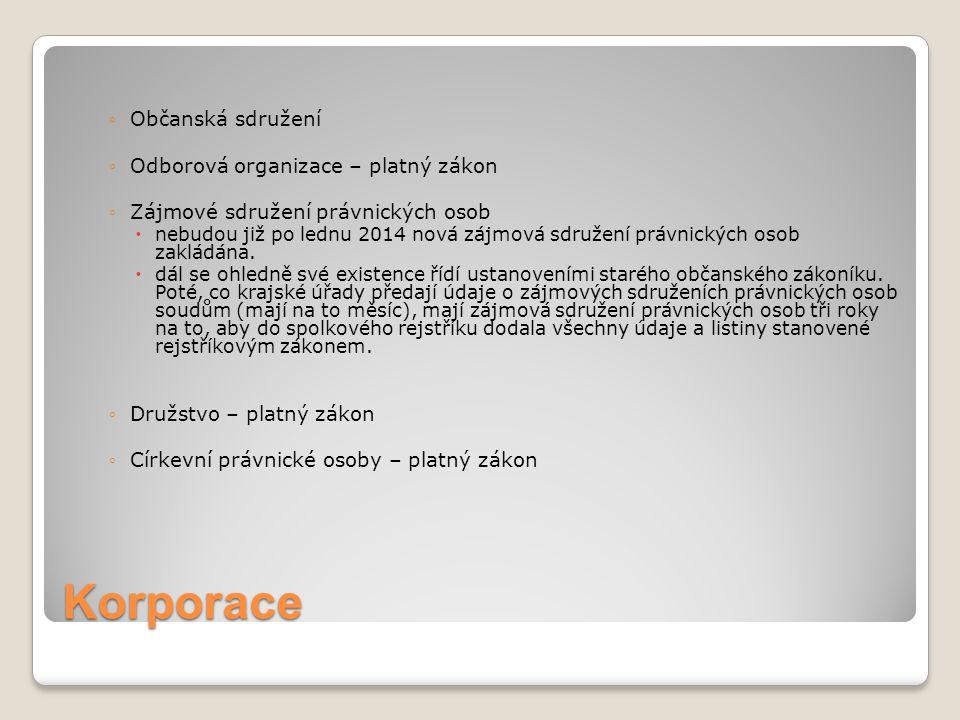 Korporace ◦Občanská sdružení ◦Odborová organizace – platný zákon ◦Zájmové sdružení právnických osob  nebudou již po lednu 2014 nová zájmová sdružení