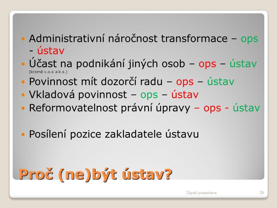 Proč (ne)být ústav? Administrativní náročnost transformace – ops - ústav Účast na podnikání jiných osob – ops – ústav (kromě v.o.s a k.s.) Povinnost m