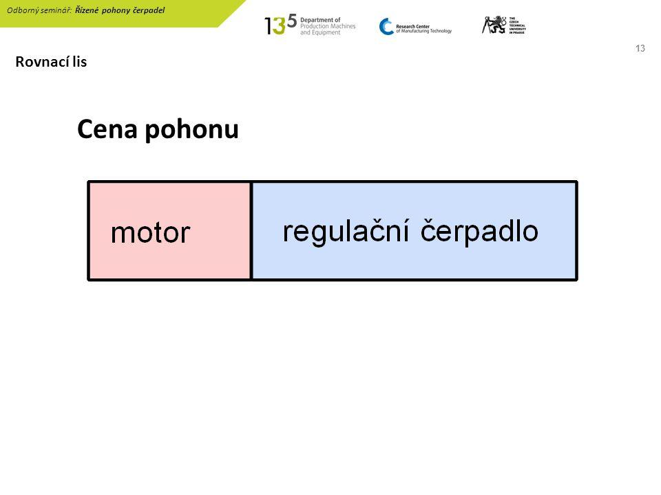 13 Cena pohonu Odborný seminář: Řízené pohony čerpadel Rovnací lis