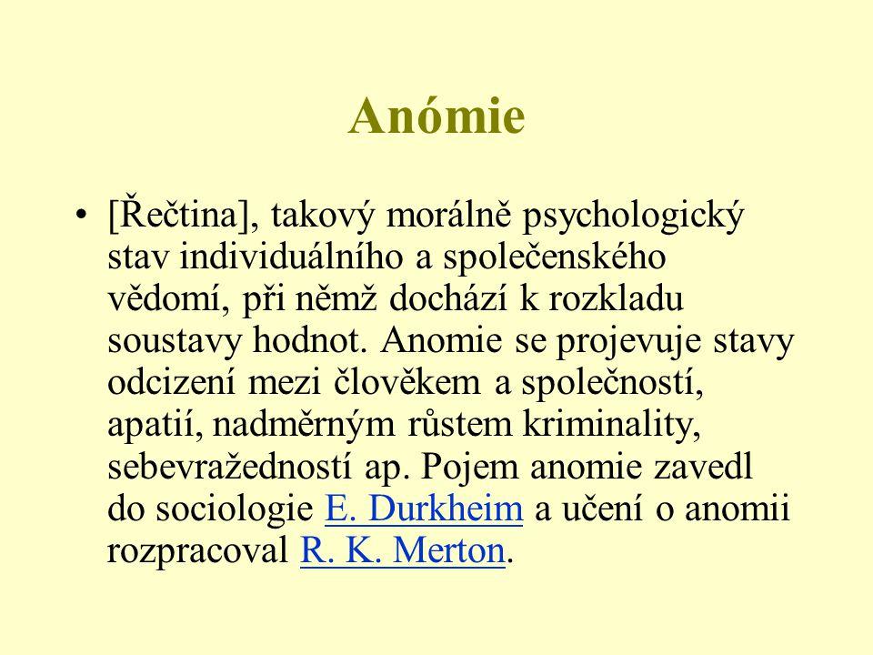 Anómie [Řečtina], takový morálně psychologický stav individuálního a společenského vědomí, při němž dochází k rozkladu soustavy hodnot. Anomie se proj